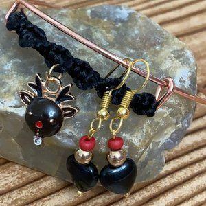 Deer 🦌 braided black heart 🖤 Christmas set